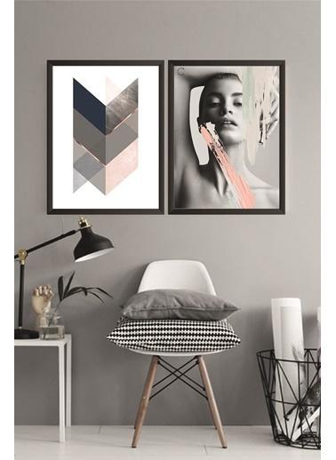 Lyn Home & Decor Geometrik Kadın Çerçeveli Poster 2 Li Tablo 23.5X33,5 Siyah
